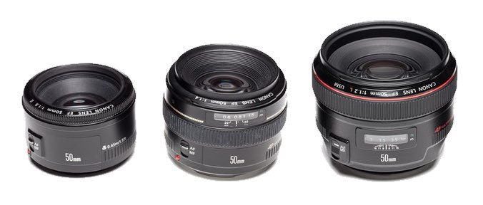 Canon 50mm f/1.8, 50mm f/1.4 and 50mm f/1.2